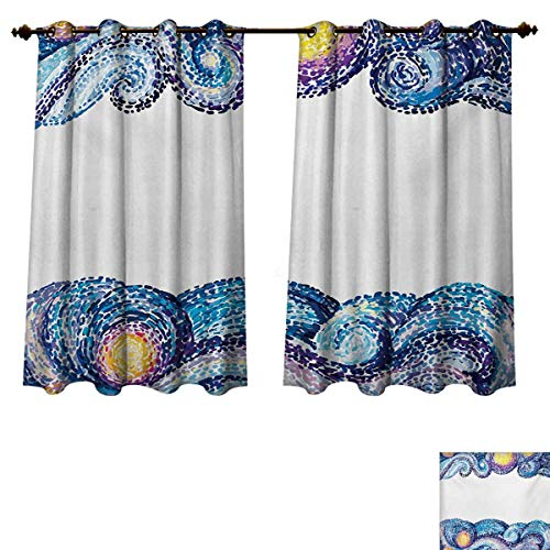 (RuppertTextile Starry Night Blackout Thermal Curtain Panel Artistic Dots Wave Design with Watercolor Brush Strokes Nautical Inspirations Patterned Drape for Glass Door Multicolor W55 x L63)