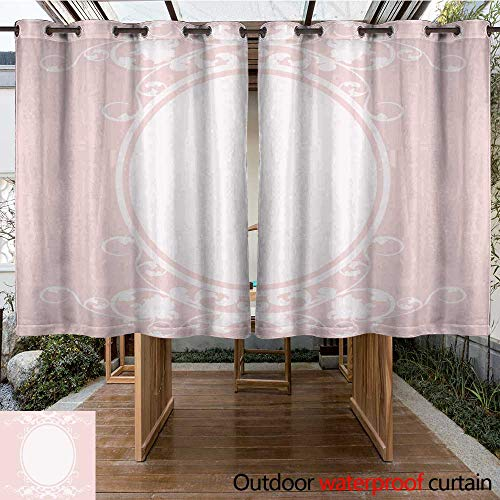 RenteriaDecor Home Patio Outdoor Curtain Oval Pink Frame W63 x L72