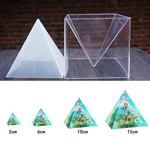 1pc Super Pyramid Silicone Mould Resin Craft Jewelry Crystal Mold + Plastic Frame (Silicone Mold Pyramid)