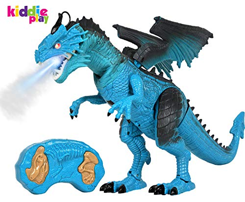 Kiddie Play Remote Control Dinosaur Toy Smoke Breathing and Walking Dragon with Lights & Sounds