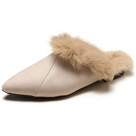 41bbd9ada80 Amazon.com  SANOMY Sexy Pointed Toe Mules Shoes Women Winter Warm ...