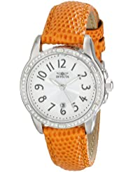 Invicta Womens 16338 Angel Crystal-Accented Stainless Steel Watch with Orange Leather Strap