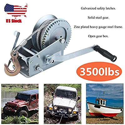 3500lbs Dual Gear Hand Winch Hand Crank Manual Boat ATV RV Trailer Heavy Duty
