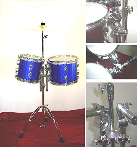 NEW BLUE 8''&10'' CONCERT TOMS DRUM With HARDWARE.FREE 14'' CYMBAL