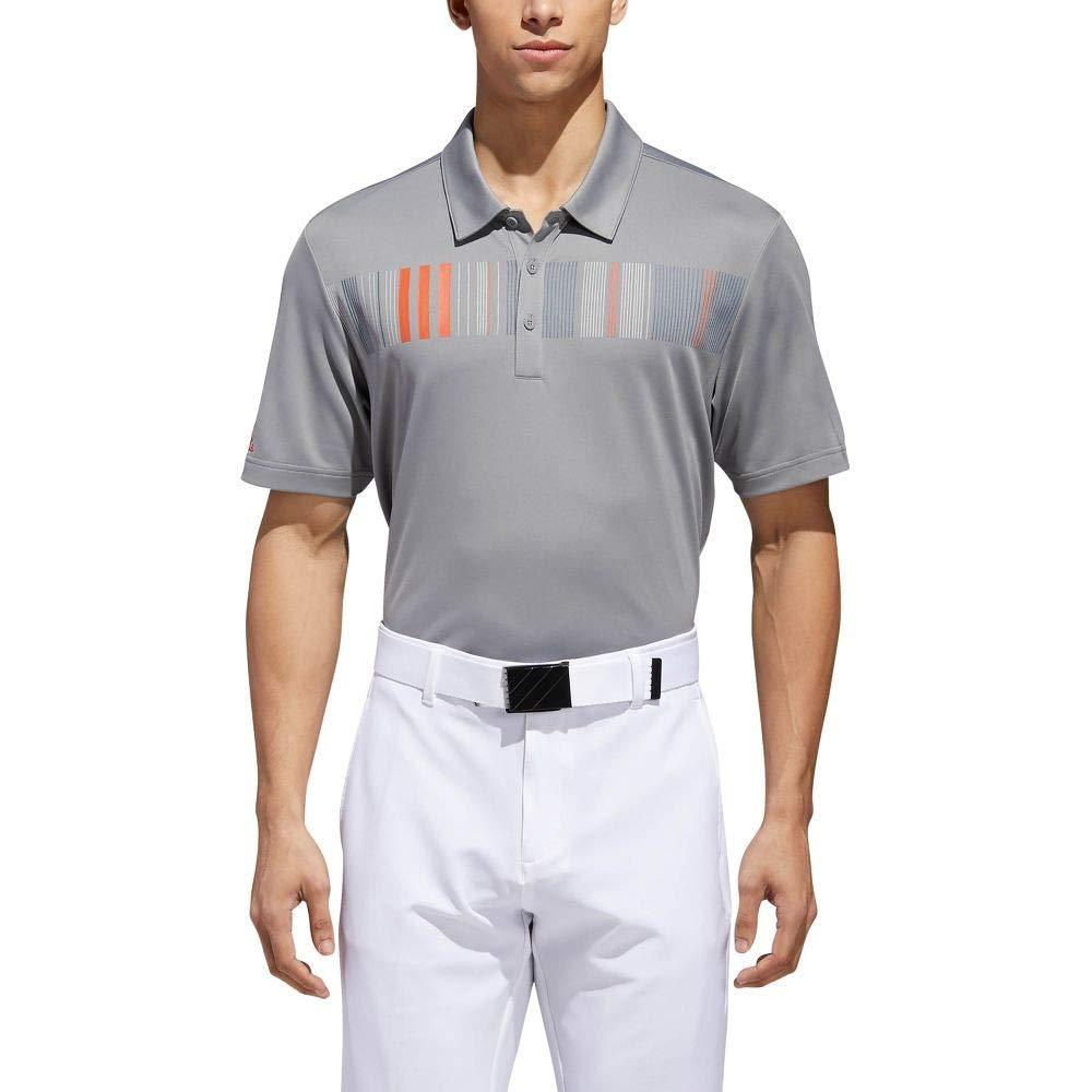 ADIDAS GOLF (アディダス) メンズ ゴルフ トップス Ultimate Stripe Chest Pique Polo Grey/Raw Amber サイズM [並行輸入品]   B07NW32PL6