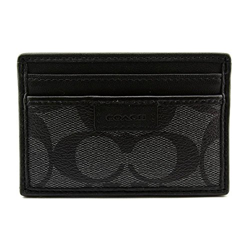 UPC 888067110302, Coach Heritage Slim Card Case in Charcoal Canvas PVC & Black Leather
