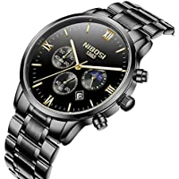 Mens Watches Automatic Date Chronograph Watch Men Sports Watches Waterproof 30M Full Steel Quartz Men's Black Watch