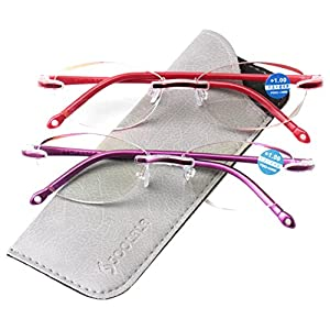 SOOLALA Womens Fashion Cut Edge Anti-blue Lens Rimless Reading Glasses, 2mix, x1.0