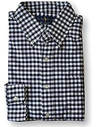Ralph Lauren Polo Mens Oxford Button Down Plaid Pony Logo Shirt Blue/Black
