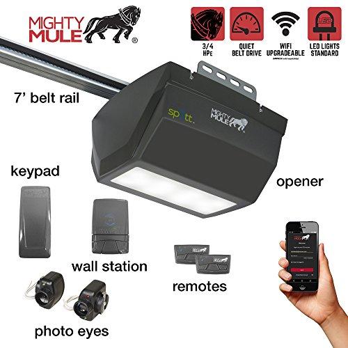 Mighty Mule MM9333H MM9333 9000 Series Operator-Single LED Light Smart Garage Door Opener, Black (Powermax Cam Kit)