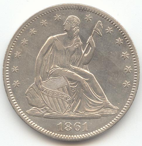 1861 Seated Liberty Half Dollar Choice About Uncirculated Details