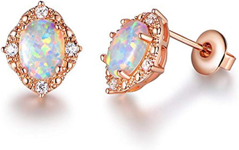 AILUOR Pendientes de Oro Rosa de Las Mujeres Plateado Pon simulados CZ Diamond ópalo, joyería de Piedras Preciosas Cosecha Octubre Birthstone