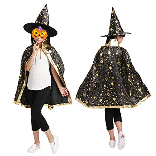 Little Girl Halloween Costume Patterns (Halloween Christmas Witch Wizard Cosplay Costumes Set for Girls, Boys, Kids with Cloak, Hat, Headband)