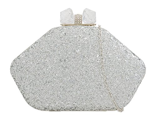 Silver Handbag Clasp Women's Gem Clutch Cocktail Party KZ2270 Glitter Ladies Box Bag Uq77PB
