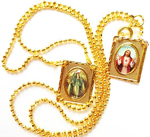 Gold Scapular Medal - scapular_our Lady of grace escapulario católico Scapular medal Vintage Catholic Scapular 18K Gold