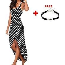 Han Shi Dress, Sexy Women Sleeveless Stripes Dress Casual Ladies O-Neck Ankle-Length Bodycon Party Dress Skirts Sundress