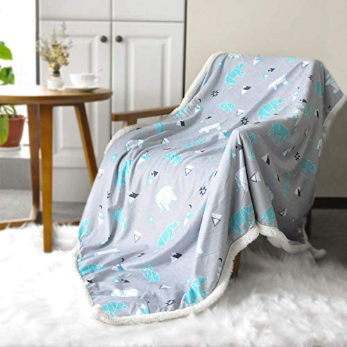 - BORITAR Sherpa Throw Blanket Super Soft Warm Ultra Luxurious Fleece Blanket for Baby Children Teens and Young Girls Women Minky Blanket with Sherpa Plush Backing (50 x 60 Inch, Lovely Grey Polar Bear)