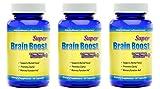 Brain Supplement Nootropic Super Brain Boost 1554 Improve Focus Calrity Memory Concentration Contains Ginkgo Biloba St. John's Wort Bacopa Monniera DMAE 60 Capsules 3 Bottles