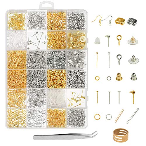 Earring Making Supplies,LANMOK 2416pcs Jewelry Making Kits in Earring Backs Earring Hooks Earring Posts for DIY Beginners Adults - Supplies Maker Jewelry