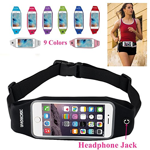 uFashion3C Universal Running Belt Waist Pack with Zipper for iPhone 6, 6S, 6 Plus, 6S Plus, Samsung Galaxy S5, S6,...