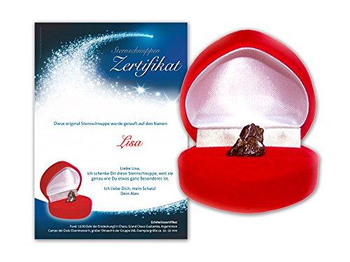 Echte Sternschnuppe in roter Herzbox - inkl. persönlichem Widmungszertifikat mit Deinem Wunschtext | als romantisches Weihnachtsgeschenk, als Geschenk zum Geburtstag, zur Taufe oder zum Jahrestag