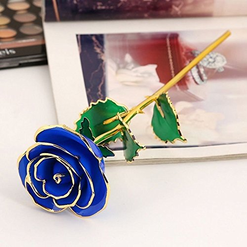 Artificial Flower Decorations, Artificial Flower Bulk Artificial Flower 24K Gold Plated Rose Single Stem Valentine Gift Home Decor, Artificial Flower Arrangements For Home (Blue)