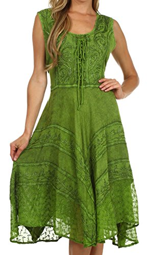 Sakkas 123 Sundara Stonewashed Rayon Mid Length Dress - Green - S/M