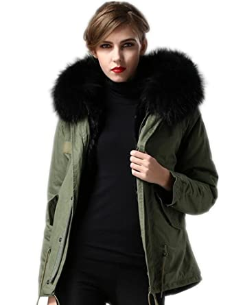 3652c2bff92 Melody Women s Winter Real Raccoon Fur Collar Hooded Parkas Detachable  Lining Short Coat Jacket