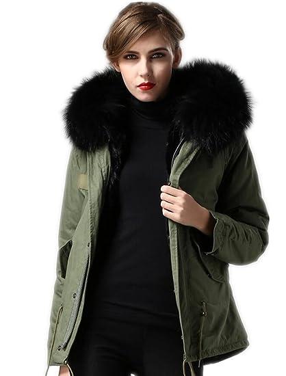 a481e52e2 Melody Women's Winter Real Raccoon Fur Collar Hooded Parkas Detachable  Lining Short Coat Jacket
