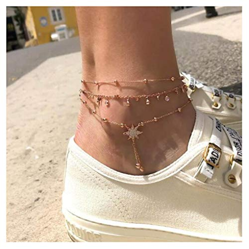 Tgirls Crystal Anklets Bell Dangle Ankle Bracelet Beach Foot Chain for Women and Girls