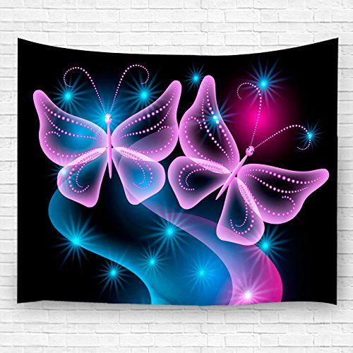 - Goodbath Butterfly Tapestries Throw Blanket, Butterflies and Star Pink Blue Black Background Tapestry Wall Hangings,80