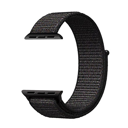 Qifit New Nylon Sport Loop with Hook and Loop Fastener Adjustable Closure Wrist Strap Replacment Band for iwatch Apple Watch Series 1 /2 / 3,42mm,Black ( Pinkish Weave Color in )