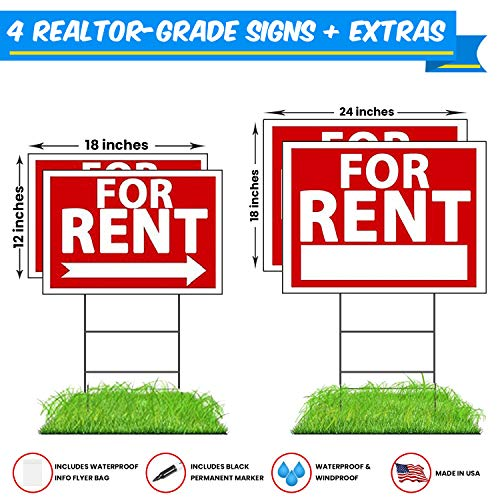 WDS Premium for Rent Signs with Stakes + Bonus Waterproof Flyer Holder + Permanent Marker - Yard Signs - Reusable Double-Sided w/Directional Arrows - New for 2018! Taller Yard Stakes -