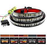 Nilight TR-03 60'' Triple 504 LEDs Truck Tailgate Side Bed Light Bar Strip Sequential Amber Brake Running Turn Signal Red/White Reverse
