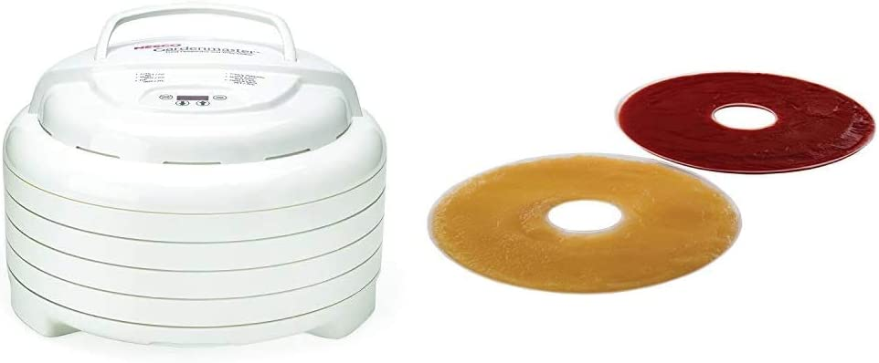 Nesco Gardenmaster Food dehydrator, White & LSS-2-6, Fruit Roll Sheets for Dehydrators FD-28JX, FD-37, FD-60, FD-61, FD-61WHC, FD75A and FD-75PR, Set of 2.,White