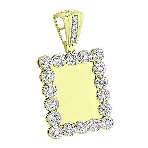 Custom Diamond Bezel (Cluster Flower Bezel Pendant 10K Yellow Gold 1.94 CT Genuine Diamonds Custom)