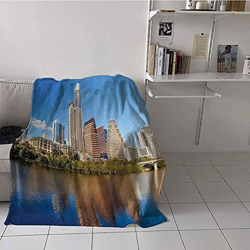 (Children's Blanket Portable Plush Throw Blanket (60 by 80 Inch,Apartment Decor Collection,View of Austin and Texas Summertime Sunny Day Park Shores Waterscape Picture,Blue Green Ivory)