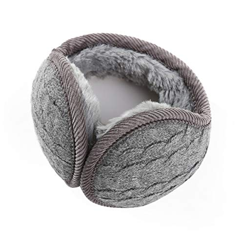 Durio Womens Polar Fleece Ear Muffs Winter Warm Soft Solid Ear Warmers for Women Girls Foldable Earmuff Dark Grey One Size