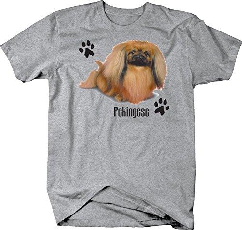 Cute Pekingese Dog Sitting Down with Paw Prints Custom Tshirt - XLarge