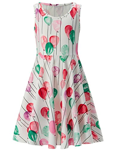 RAISEVERN Girls Sleeveless Dress 3D Print Cute Colorful Balloon Pattern White Summer Dress Casual Swing Theme Birthday Party Sundress Toddler Kids Twirly Skirt, Colorful Balloon, 4-5T ()