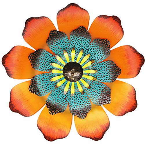 Juegoal 16 Inch Large Metal Flower Outdoor Wall Decor Garden Hanging Decoration for Patio Bedroom Living Room Office, Orange from Juegoal