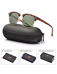 Mens Womens Clubmaster Polarized Sunglasses UV 400 Grey Green Lens Tortoise Retro Classic Frame 51MM,by LUENX with Case