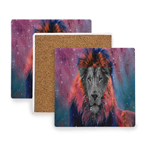 (Large Square Drink Coasters,Galaxy Tumblr Tiger Ceramic Thirsty Stone With Cork Back Cup mats Protect Your Furniture From Spills, Scratches, Water Rings and Damage 2 pcs)