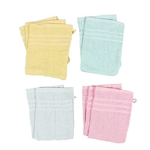10er Set Waschhandschuhe Waschlappen hochwertiges Frottee Set unifarben / Dessin Print, Dessin:10x uni-einfarbig
