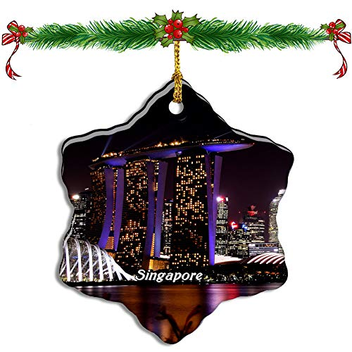 Fcheng Singapore Gardens by The Bay Singapore Christmas Ceramic Ornament Tree Decor City Travel Souvenir Double Sided Snowflake Sublimation Porcelain Hanging Ornament (Tree Singapore Christmas)