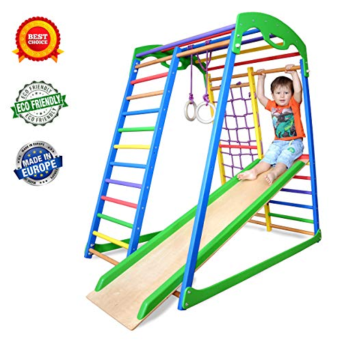 Wedanta Indoor Playground - Jungle Gym - Monkey Bars - Play Structure - Backyard Playsets for Kids - Playset for Toddlers - Toddler Climber - SportWood (For Toddlers Backyard Playsets)