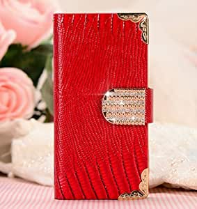 Shining Crystal Flip Wallet luxury PU leather case cover skin for iPhone 5 5G 5S-Red