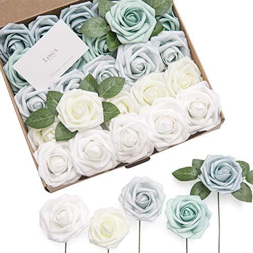 Ling's moment Artificial Flowers Silver Sage Green Ombre Colors Foam Rose 5 Tones for DIY Wedding Bouquets Centerpieces Arrangments Decorations (Arrangment)