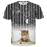 Yasswete Unisex Hipster Stylish Cat Graphic Shirts 3D Printed Short Sleeve Top Tees Size S