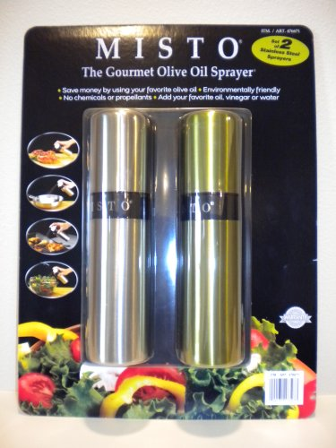 Misto Oil Spray (Misto The Gourment Olive Oil Sprayer (Silver & Olive Green / Pack of 2))